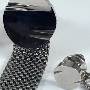 Vintage Silver tone Mesh Cufflinks & Tie Tack